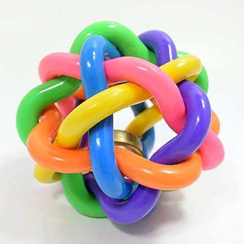 XU-XIAZHI,1 Welpen-Spielzeug-Farbe elastischer Gummiball mit Glocke für das Haustier-Training und das Kauen(Color:BUNT)