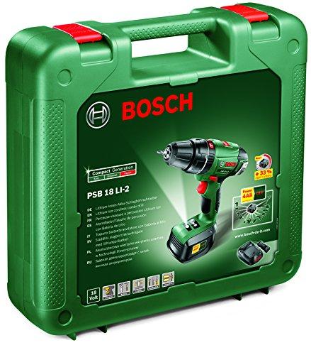 Preisvergleich Produktbild Bosch Schlag-Bohr-Schrauber PSB 18 LI-2 / 1-aku mit LaDEGERÄT, 603982321