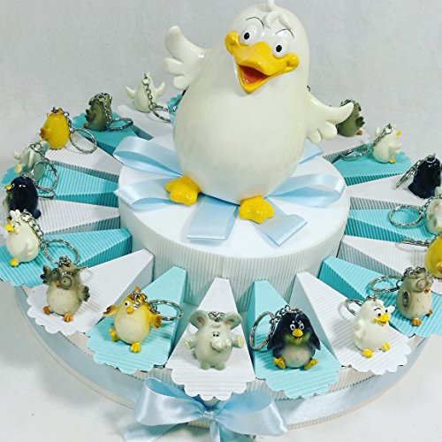 Bomboniera battesimo nascita primo compleanno bambino confezionata su torta bomboniere portaconfetti sb (torta madagascar portachiavi)