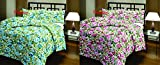 #6: Renown Beautiful Attractive Blue & Pink Floral Prints Reversible Single Bed Soft AC Blanket / Dohar Combo Set Of 2 Pc