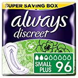 Always Discreet Incontinence Pads for Women, Small, 96 Moderate Absorbency Pads