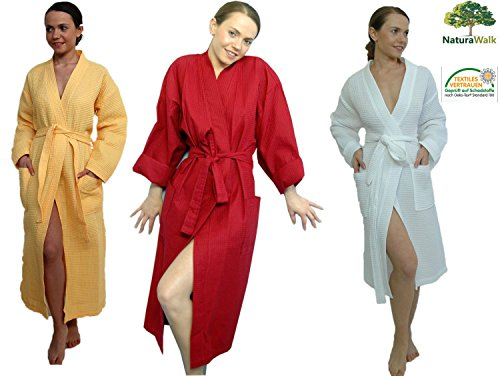 Bademantel, Piquee als Kimono von Naturawalk Grösse XL Mango