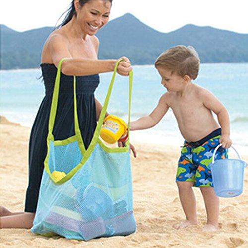 MagiDeal Pieghevoli Borse da Spiaggia Sabbia Via Giocattoli Bambini Custodia Raccogliere Maglia Tote - Blu Blu