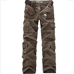 Allthemen Pantalon de Travail Homme Style Cargo - Multipoches sans Ceinture, Café, Taille 44