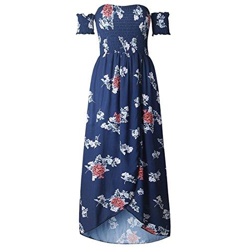 Vertvie damen reizvolles Schulterfrei Elegant Maxikleid trägerlos Kleid Tube Patchwork Floral Swing Partykleid Strandkleid Abendkelid Blau