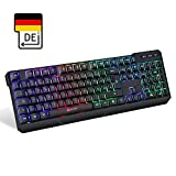 KLIM Chroma Tastatur Gamer QWERTZ DEUTSCH Wireless – Hohe Leistung – Bunte Beleuchtung (Schwarz) RGB PC Windows, Mac PS4 2019 Version