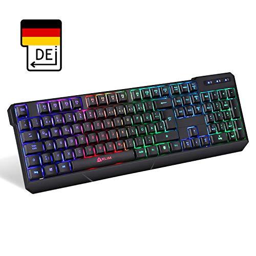 KLIM Chroma Tastatur Gamer QWERTZ DEUTSCH Wireless – Hohe Leistung – Bunte Beleuchtung (Schwarz) RGB PC Windows, Mac PS4 2019 Version