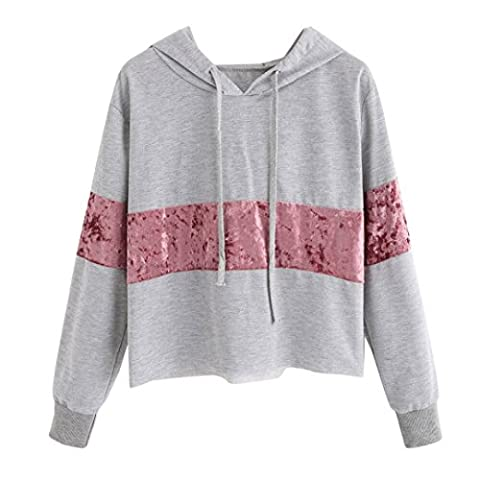 Sweatshirt Femmes Angelof Pull Fille Manches Longues Gris Court Jumper Hooded Sweatshirt Femme A Capuche Outerwear Chic Original Blouse Tops T-Shirts (L)