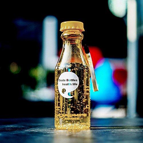 Go_believe 550 ml Gewaschene Wasserflasche mit Umhängeband, transparente Trinkflasche für Sport, Camping, Wandern, Anti-Auslauf, gelb