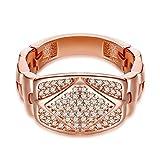 AnazoZ Bague Femme Desgin Montre Cristal Brillant Or Rose Taille 54 Bijoux Accessoire Fantaisie