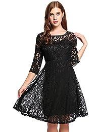 Meaneor Vestidos para Mujer de Encaje Elegante Dobladillo Plisadode de  Fiesta b7397d12aace