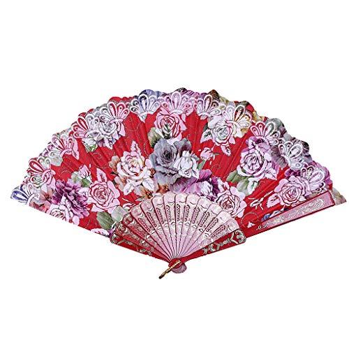 MOTOCO Damen Faltfächer Blumenmuster Seidenfächer Handfächer Eleganter Tanzfächer Hochzeitsdekoration