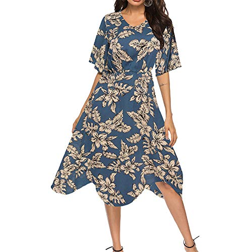 Bahoto Sommer Neue V-Ausschnitt Chiffon Kleid Urlaub Am Meer Strand Damenbekleidung (Bandeau Frill)