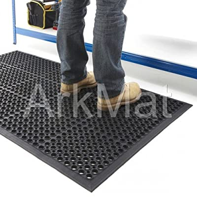 3 X Rubber Workplace Anti Fatigue/ Factory/Kitchen/ Bar Flooring Mat 3ft x 5ft x 12mm