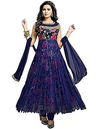 Attire Design Women's Cotton Suit Piece Salwar Suit Set (Gol Blue Rose Bk_Blue_Free Size)