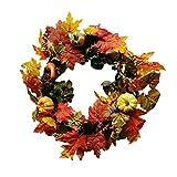 Wokee 50cm Beeren-Ahorn-Blatt-Fall-Tür-Kranz-Tür-Wand-Verzierung Erntedank-Tag Weihnachten Kranz Ornament Garlands Ideal für Party Ferien Zeremonie Mode