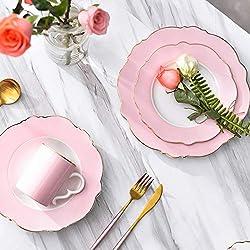 YILIAN Canjvtaozhuang Juego de Cubiertos de cerámica Creativo para niña Plato para bistec Lado Dorado Plato para el Desayuno Taza Rosa Blanco Azul Estilo Lunares Conjunto de 4 Piezas (Color : Pink)