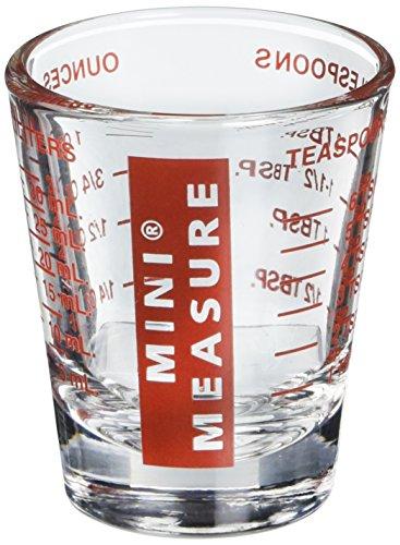 Messung Schnapsglas, schwerem Glas Mini Maßnahme Vielseitiges Liquid- und Dry, 26-incremental Messungen für Teelöffel, Esslöffel, Unzen und in millilitern Rot 1 ounce rot (Cup-messung)