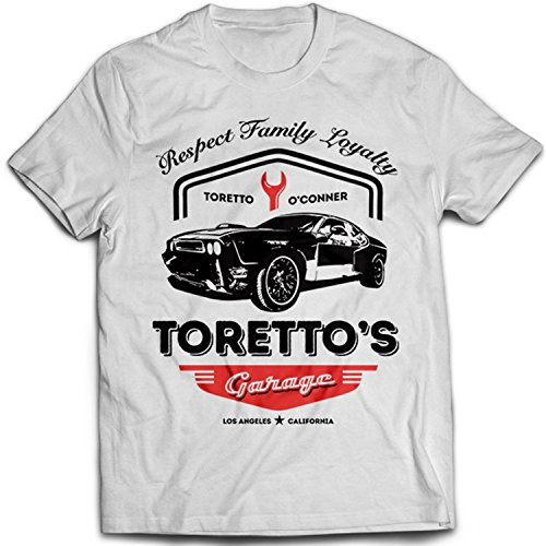 9360w Toretto's Garage Herren T-Shirt Fast Street Speed Furious Racing And Championship Car(Medium,White) (White T-shirt Championship)