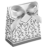 RENNICOCO - 100 cajas de regalo para boda o fiesta, con lazo de encaje 3.7 * 6.7 * 8.3cm plata