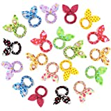 Ginasy 20 PCS Rabbit Ears Hair Bow Tie Bands Chiffon Ponytail Holder Hot For Little Girls&Kids