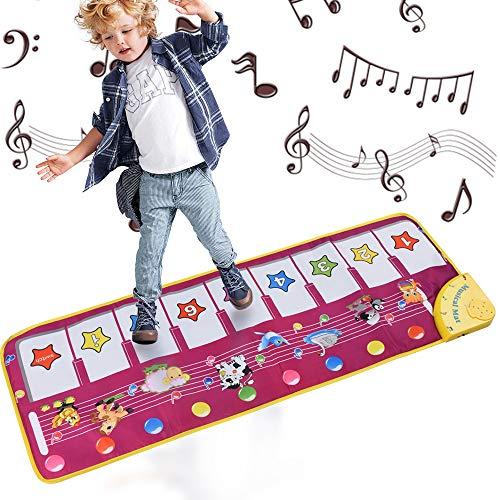 Alfombrillas musicales para niños, letease, piano para bebé, manta de juguete para jugar al juego, baile, música, animal, bebé, educación temprana, juguetes para niños regalo (Model A)