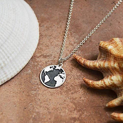 Collar Mundo Plata, Collar Mapamundi, Colgante Mundo, Collar Viajes, Gargantilla Mundo, Gargantilla Tierra, Colgante Viajes, Plata, Collar