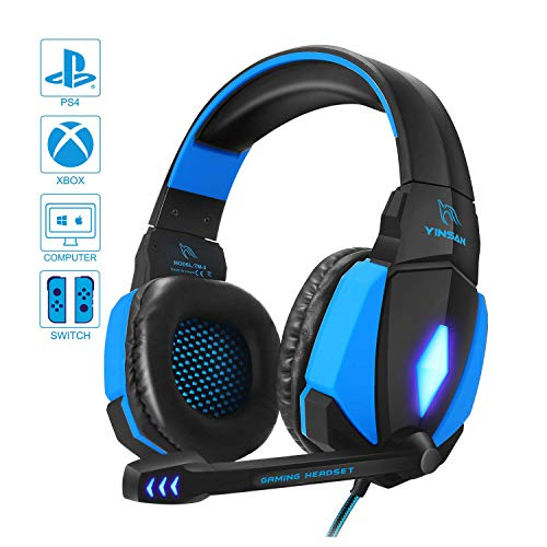 Cuffie da Gioco per PC, YINSAN Cuffie Gaming con Cavo USB Audio Jack da 3,5 mm, Cuffie Over Ear con Microfono Luce LED e Controllo Volume, Gaming Headset per PS4 Xbox One X/S Nintendo Switch PC, Blu