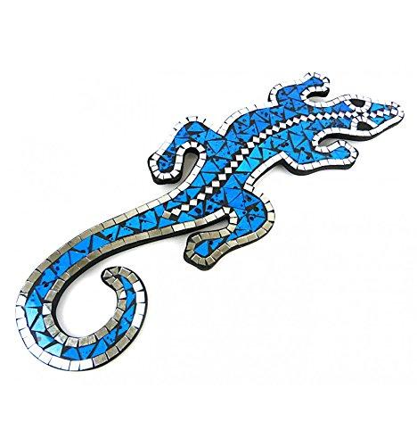 Artisanal Salamandre Gecko Margouillat Mural 60cm mosaique de Verre Bleu Turquoise