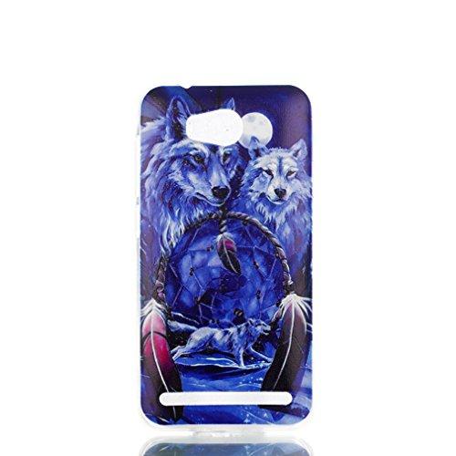 LMAZWUFULM Hülle für Huawei LUA-L21 / Huawei Y3 II (4,5 Zoll) Weiche TPU Schutzhülle Silikon Handyhülle Schnee Wolf mit Traumfänger Muster Flexible Rückschale Cover für Huawei LUA-L21 / Y3 II