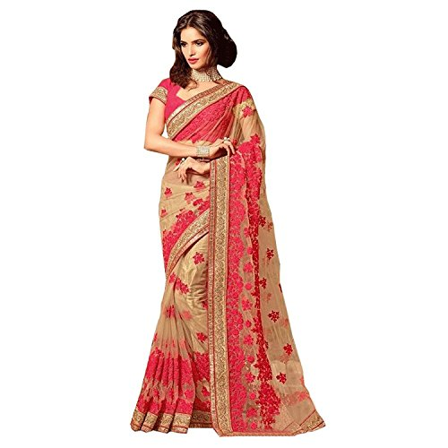 Bigben Women's Beige Embroidery Net Designer Saree With Blouses