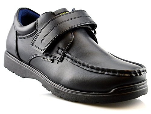 Boys Hard Wearing Back To School Touch Fastening Black Formal Shoes Size...