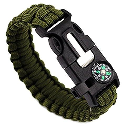cebbay 5in 1Outdoor Seil geflochten Armband Escape Equipment Flint/Whistle/Kompass Outdoor Essential S D