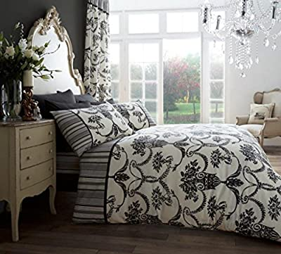 Duvet Cover and Pillowcase Set Quilt Bedding Set With Pillow Cases Single Double King Super King Size Printed Floral Check Stripe Reversible - low-cost UK light store.