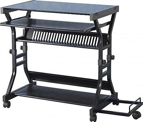 Cori Computer Desk in Black Glass/Black