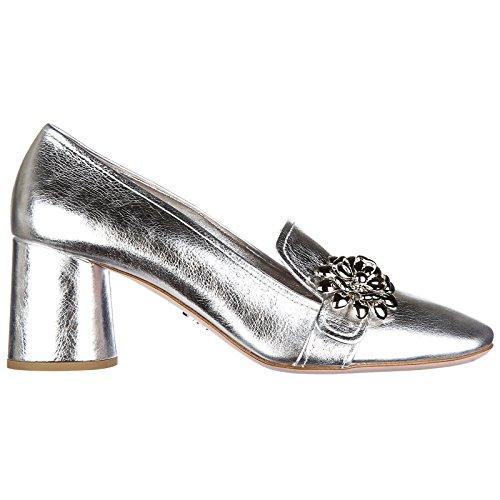 Prada Damenschuhe Leder Pumps mit Absatz High Heels shine Silber