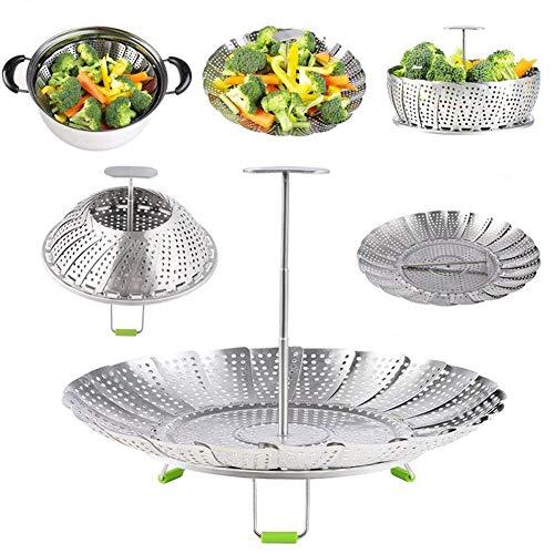 Premium Gemüse-Dampfkorb mit Griff und Beinen - 100% Edelstahl - faltbarer Dämpfereinsatz für Veggie Fish Meeresfrüchte Eier Kochen, für Sofort-Topf 3, 5, 6 und 8 l