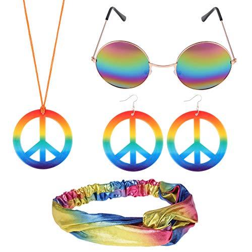 FANTESI Conjunto de Vestuario Hippie, Collar y Aretes de Signo de la P