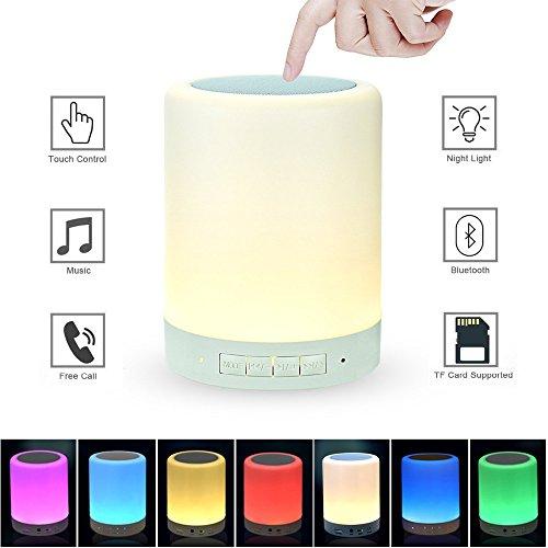 Lumière de nuit avec haut-parleur Bluetooth, lampe de chevet intelligente de capteur tactile, (Dimmable 3 niveaux de lumière blanche chaude et six couleurs RVB de changement, supportée par Micro SD)