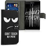 kwmobile Funda para Sony Xperia Z1 Compact - Wallet Case plegable de cuero sintético - Cover con tapa tarjetero y soporte Diseño Don't touch my phone en blanco negro