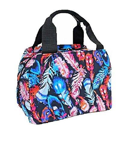 Ever Moda Feather Aztec School Work Camping Girls Lunch Box Bag Jp Black Pink Blue