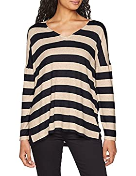 Only Onlmaye L/S Stripe Vneck Pullover CC Knt, suéter para Mujer
