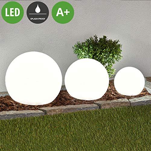 Lampenwelt 3er Set LED Solarleuchten \'Lago\' (spritzwassergeschützt) (Modern) in Weiß (3 flammig, A+, inkl. Leuchtmittel) - Solarlampe, Solarleuchte Garten