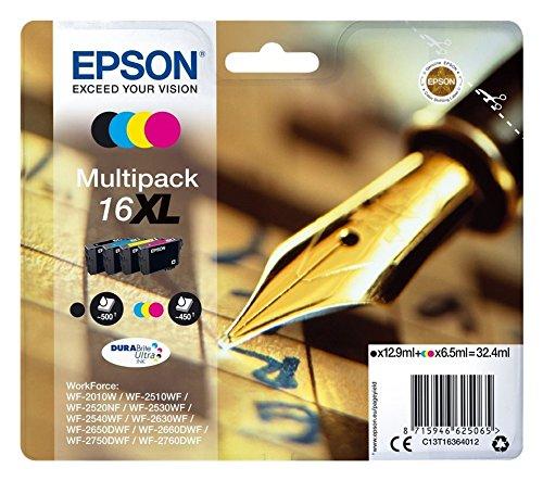 epson patronen 16 Epson Original C13T16364012 Tintenpatrone Füller, wisch- und wasserfeste Tinte XL (Multipack, 4-farbig) (CYMK)