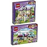 Lego Friends Reiterhof 2er Set 41124 41125 Heartlake Welpen-Betreuung + Pferdeanhänger und Tierärztin - sofort lieferbar!