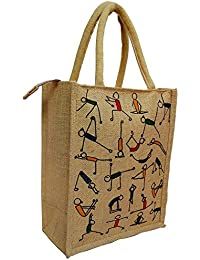 Jute Lunch Bag Yoga Print For Everyday Use And Is Easy To Clean With Top Zipper (12x5x10 Inch)