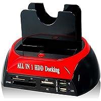 Docking-station 875J all-in-One doble SATA/IDE-HDD con copia de seguridad-botón para 5.08 cm (6,4 cm)/7.62 cm (8,9 cm) SATA/IDE-disco duro (negro + rojo)