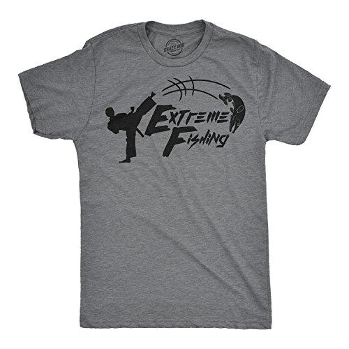 2d57c5548c3 Crazy Dog Tshirts - Mens Extreme Fishing Tshirt Funny Karate Kick Fish Tee  for Guys -