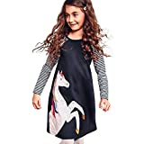 Baby Mädchen Langarm Pferd Drucken Prinzessin Kleider Baumwolle Streifen A-Linie Kleid Swing Abendkleid Outfit Babykleidung Kinderkleider für 1-6 Jahre