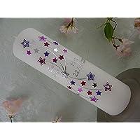 Taufkerze Sterne lila modern Kerze zur Taufe ohne Kreuz Junge Mädchen 250/70 mm mit Name und Datum